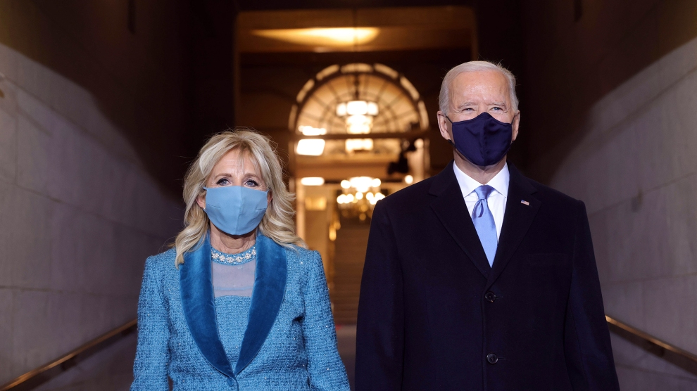 Jill Biden and Joe Biden at the 2021 inauguration
