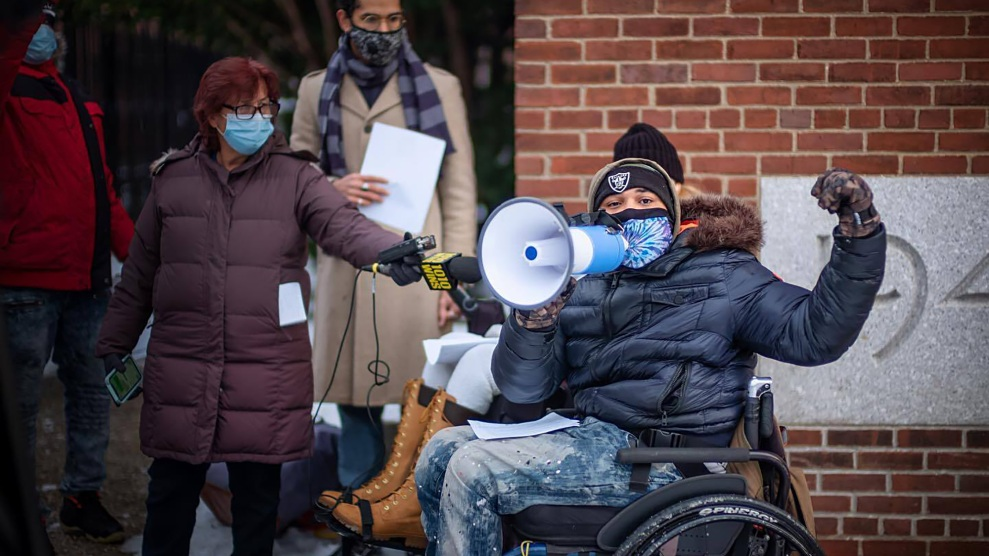 "Alhassan ""El"" Abdulfattaah, a former Coler resident, speaks at the Nursing Home Lives Matter rally on December 19."