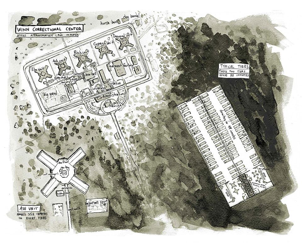 Map of Winn Correctional Center