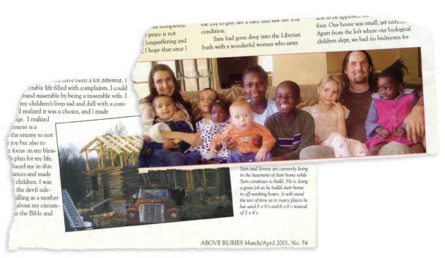 Torn out magazine pages with a photo of a house and a photo of kids
