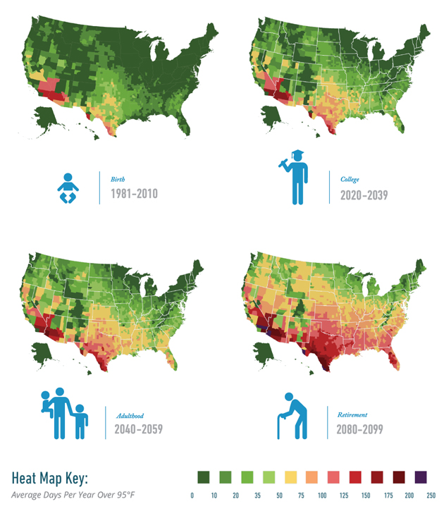 These Maps Show How Many Brutally Hot Days You Will Suffer When - Image of us map at 2040