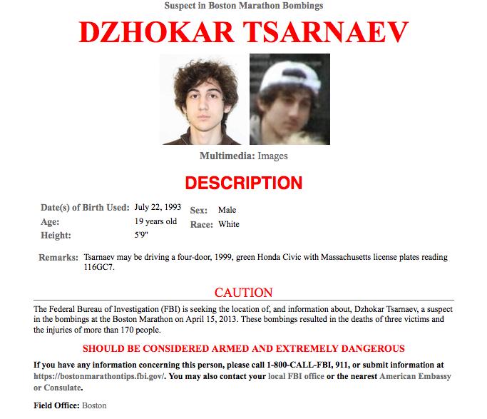 Boston Bombing Suspect Thought To Be Dzhokhar A Tsarnaev