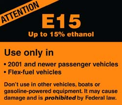 e15 warning label