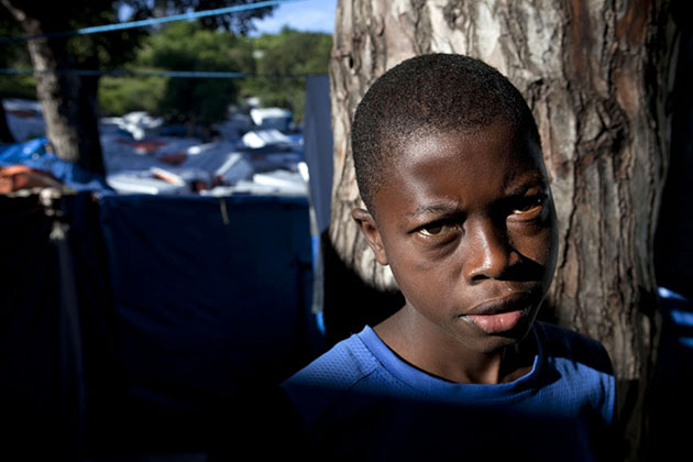 A child living in a massive camp in Port-au-Prince, Haiti.