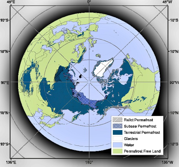 Map of Northern Hemipshere permafrost on land and under the Arctic Ocean: