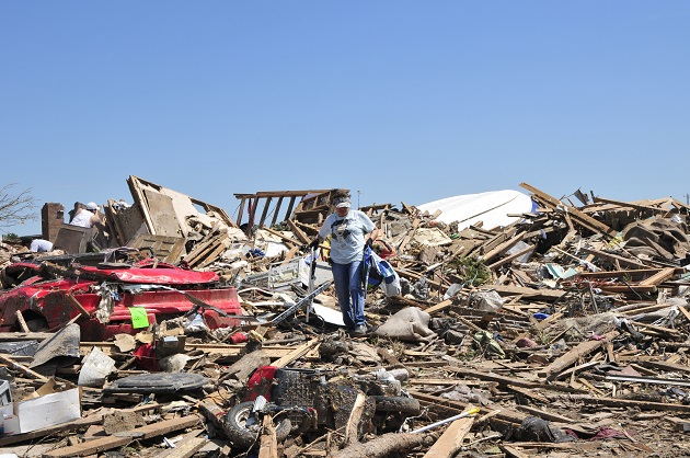 Scene in Moore, OK on May 23 after an EF-5 tornado destroyed everything in its path.