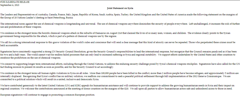 Syria joint statement white house