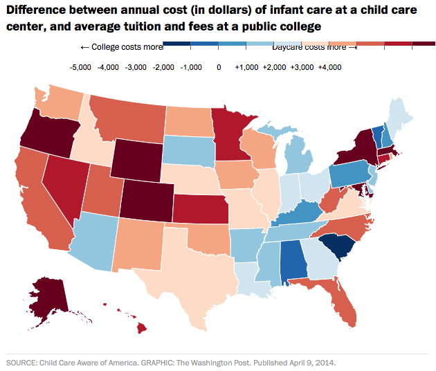 MAP: In 31 States, Daycare Is More Expensive Than College – Mother Colleges In Washington State Map on washington colleges and universities map, spokane falls community college campus map, colleges in south florida map, washington idaho montana state map, washington state voting map, colleges in southern illinois map, seattle waterway map, colleges in arkansas map, fox valley technical college campus map, southern state of washington map, community colleges in alabama map, colleges in mississippi map, google maps washington state road map, colleges in delaware map, colleges in idaho map, pensacola state college building map, colleges in connecticut map, colleges in seattle map, covington washington state map, colleges in utah map,