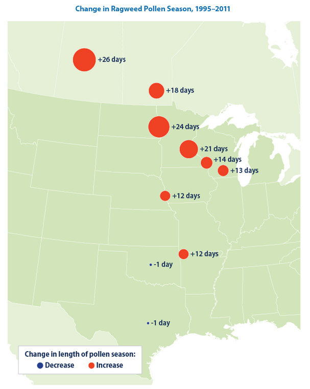 EPA map of longer ragweed allergy season
