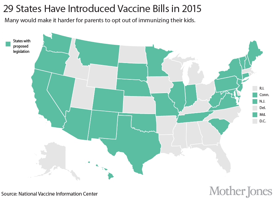 Is Your State Trying To Outlaw Vaccine Exemptions  Mother Jones - Map of the us showing vaccination rates