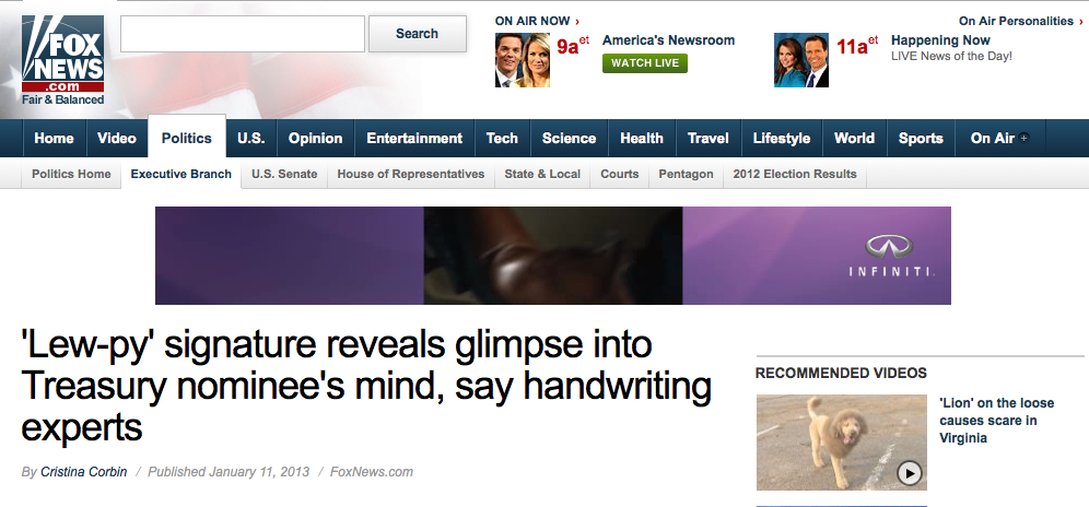 fox news handwriting experts article jack lew
