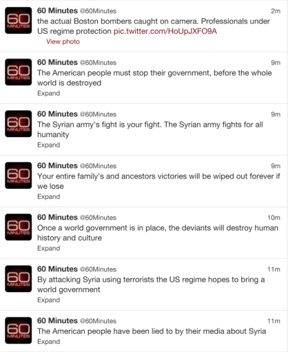 60 Minutes twitter feed hacked pro-Assad hackers