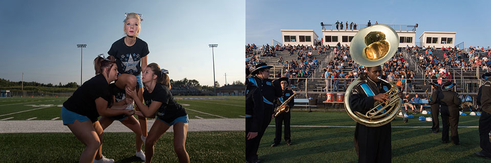 Diptych of cheerleaders and marching band