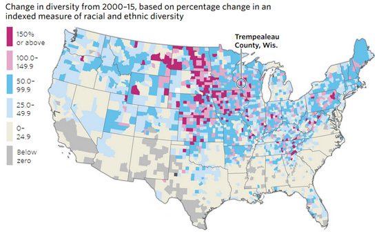 No Trump Didnt Do Best In Rapidly Diversifying Counties - Interactive us map county influx