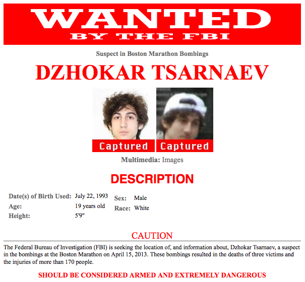 FBI wanted poster Boston Marathon bombing suspect captured