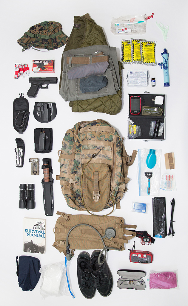 Max's bag includes clean clothes, a gun and ammunition, first aid and personal hygiene supplies, a spare set of prescription glasses, a transistor radio, tools, and a survival manual.