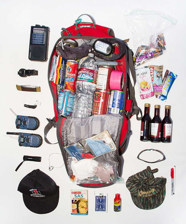 Sam's bag includes a variety of foods, walkie talkies and radio for communication, a deck of cards, and wine, which Sam heard that counteracts the effects of radiation poisoning