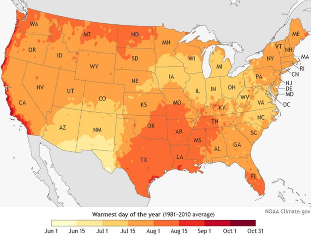 Based On Annual Maximum Temperatures From The 1981 2010 U S Climate Normals The Graphic Shows Regions That Perspire Earlier In Yellow And Later In Orange