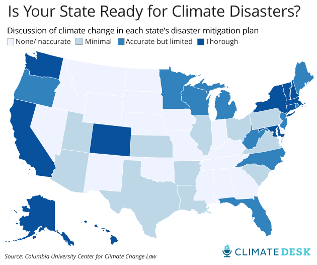 MAP Is Your State Ready For Climate Disasters Mother Jones - Global warming flooding map