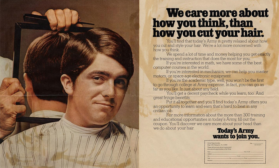 These early 70s ads tried to convince kids the us army for American ad agencies