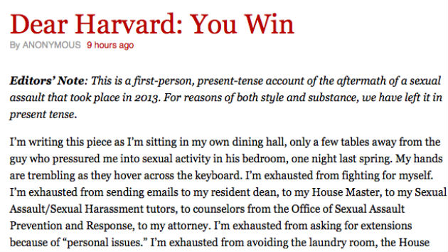 Read the Devastating Letter by a Harvard Sexual-Assault Survivor ...