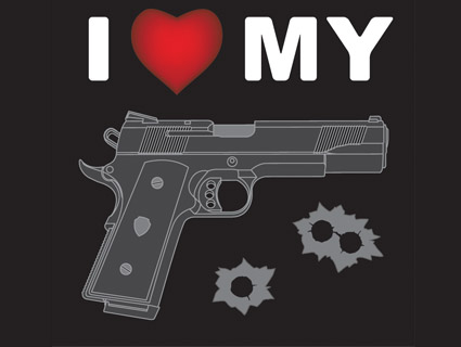 Bumper Stickers Set Of Two Pair Of Guns Decals