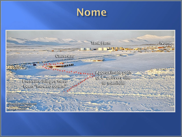 Nome, January 2012. The red dotted line shows where the fuel hose connecting T/V Renda to the town was laid. Image courtesy of the United States Coast Guard.