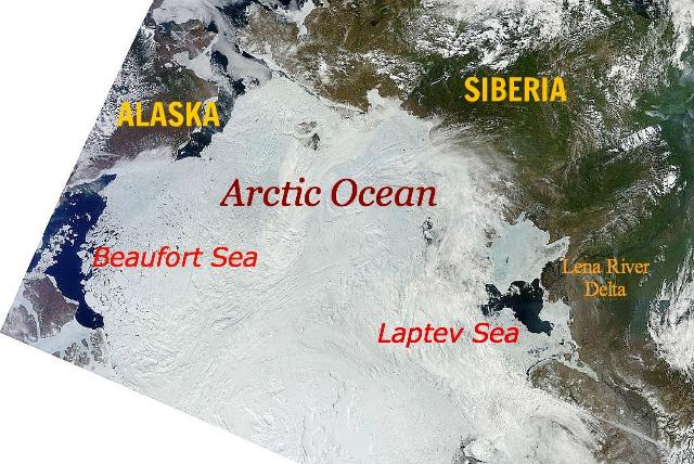 Arctic Ocean, 14 June 2012, sea ice opening at Beaufort and Laptev seas: NASA | MODIS | Terra