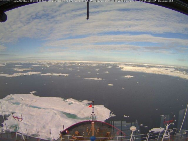 Scattered ice floes are seen from the bridge of the RV Healy on August 20, 2012 northwest of Barrow, Alaska: US Coast Guard