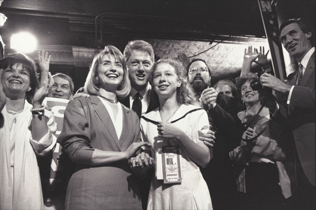 Bill, Hillary, and Chelsea Clinton at the Democratic National Convention in New York City, July 1992.