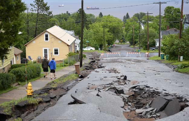 June 20, 2012 - Flooding in Duluth, Minn. has torn up area roads.  Brian Peterson/Minneapolis Star Tribune/ZUMAPress