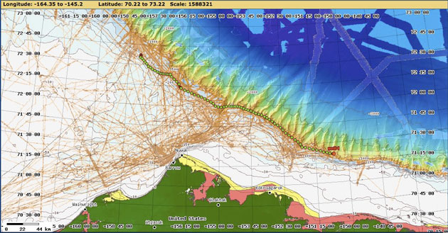 Map of the glider's flight from 12 to 20 October 2012 in the Arctic Ocean. Steve Roberts / National Center for Atmospheric Research.]