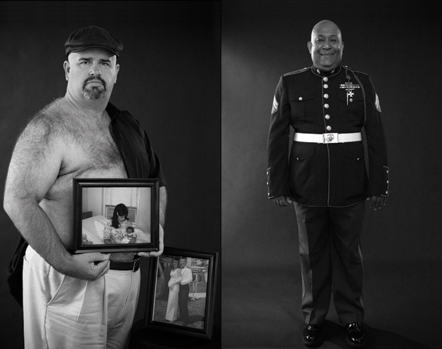 Mike Partain (left) and Teddy Richardson pose for a calender by the breast cancer foundation Art beCAUSE. (Click for more.) : David Fox