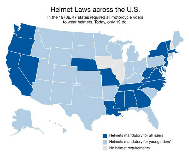 Motorcycle Helmet Law States Map.Free To Be Roadkill Mother Jones