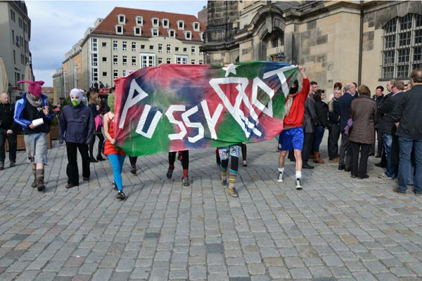A demonstration in Dresden, Germany, April 2012. Solidarity Action in Dresden/Freepussyriot.org
