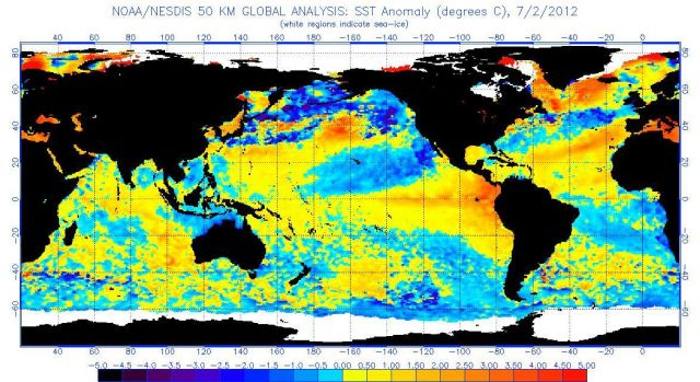 Sea surface temperatures anomalies on 02 July 2012 (click for larger version): NOAA