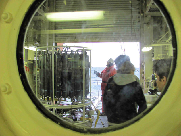 A view into the heated (sweet!) CTD bay as the package is brought in from the ocean Julia Whitty
