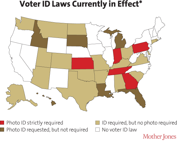 UFO Sightings Are More Common Than Voter Fraud Mother Jones - Map of voter id laws in the us