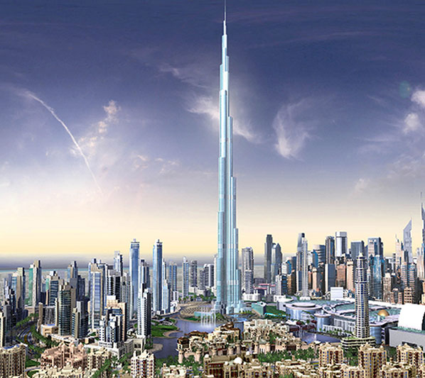 A computer image of the 'Burj Dubai' in the United Arab Emirates, which will be the world's highest building when completed in November 2008.