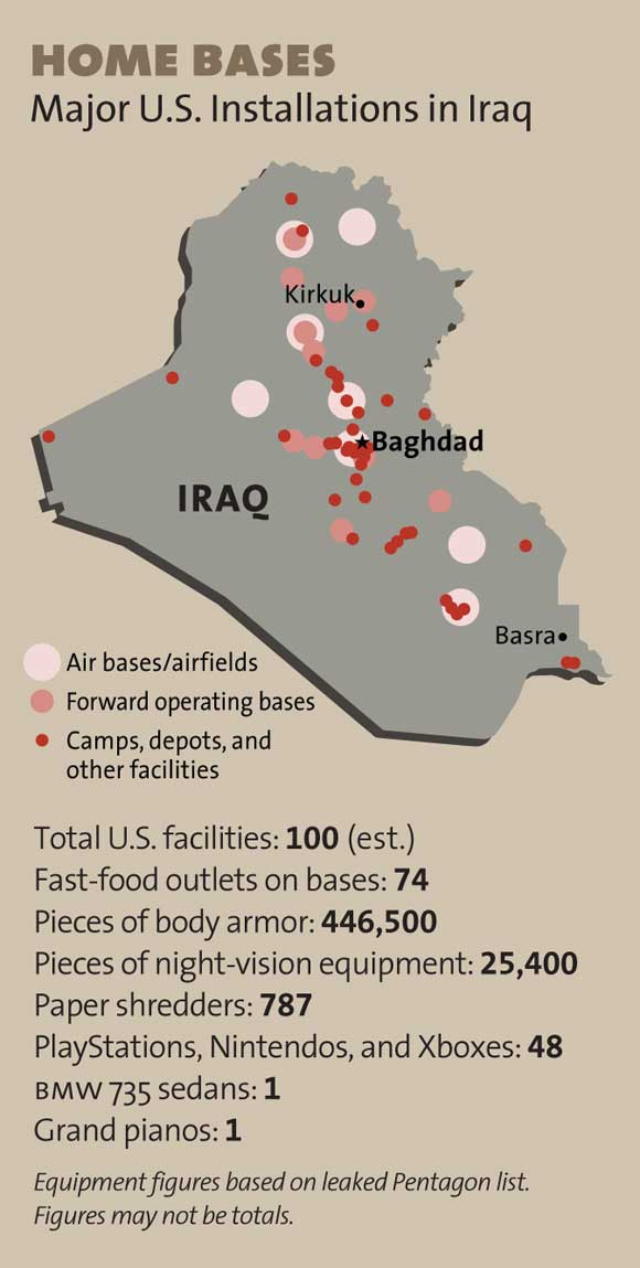 A chart detailing the major U.S. installations in Iraq.