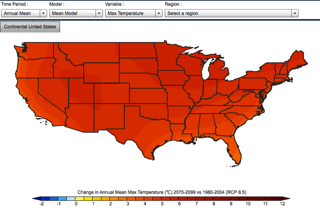 This Interactive Map Shows Exactly How Hot Your Hometown Will Get - Us map in 2075