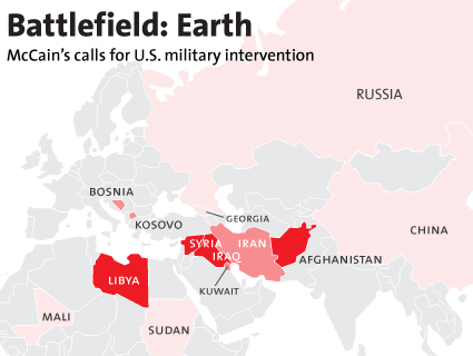 Map: All the Countries John McCain Has Wanted to Attack