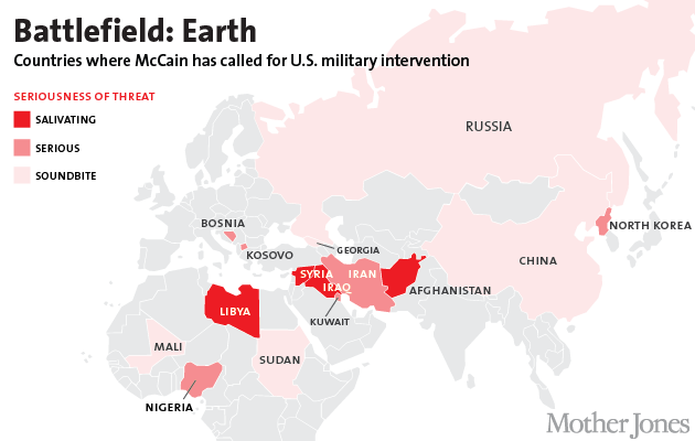 Map All the Countries John McCain Has Wanted to Attack Mother Jones