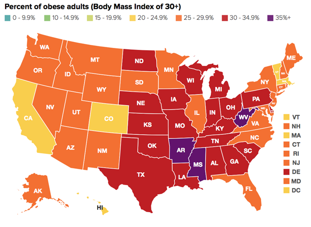 Which States Are the Most Obese Mother Jones