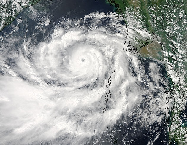 Cyclone Phailin in the Bay of Bengal on October 10, 2013.