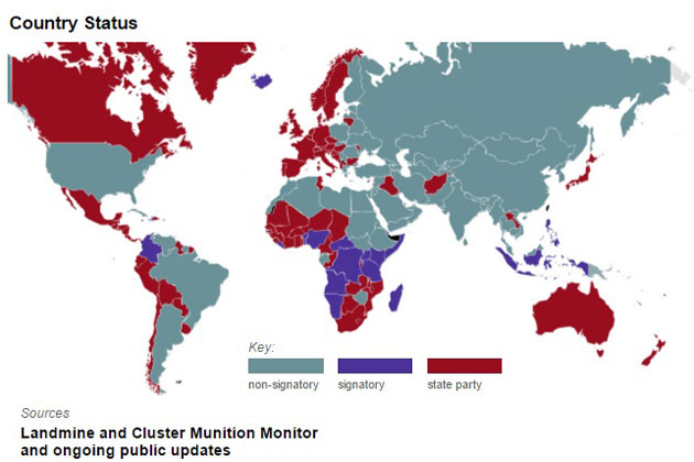 How US Cluster Bombs Banned By Most Countries Ended Up In Yemen - Map of countries us is bombing