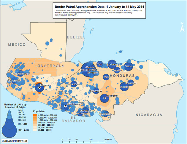 Map These Are the Places Central American Child Migrants Are